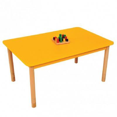 Height Adjustable Beechwood Rectangle Table Yellow,Classroom tables,classroom school tables,primary school tables,wooden school tables